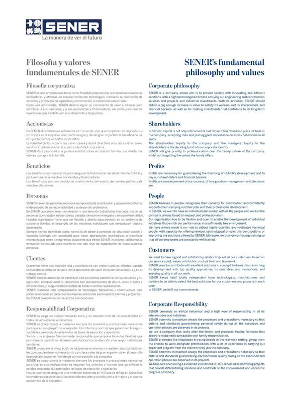 Filosofia y valores de SENER