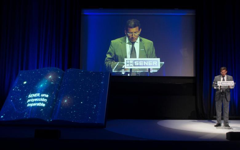 Diego RodrÍguez durante su discurso en el evento del 50 aniversario de SENER en Espacio en Madrid