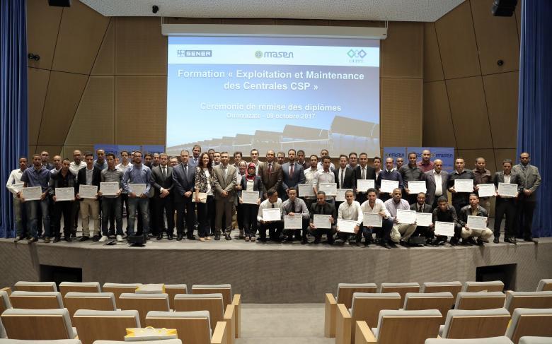 SENER, Masen et L'OFPPT Clôturent la première session de formation exploitation et maintenance des centrales CSP