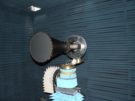 C band global coverage horn antenna, combining carbon fibre and aluminium alloy, during pattern test