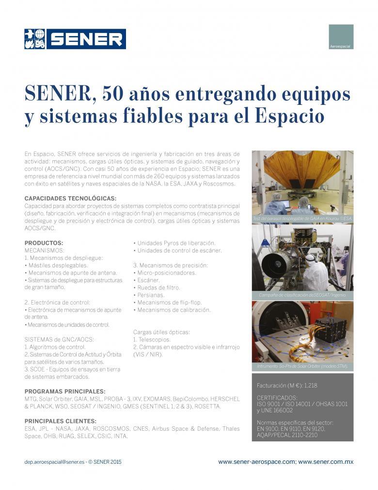 Capacidad tecnológica de SENER en Espacio y Defensa