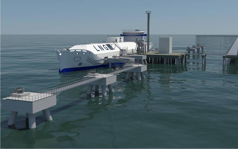Buque de suministro de GNL diseñado por SENER. Imagen virtual.