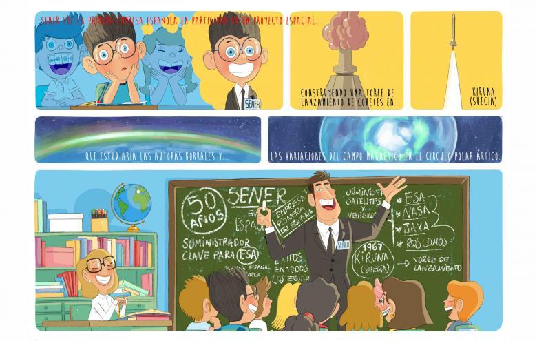 El ilustrador gallego Pablo Rosendo, ganador del I concurso de Cómic SENER en Espacio, que conmemora su 50 aniversario